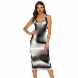Monteau Black & White Striped Midi Dress